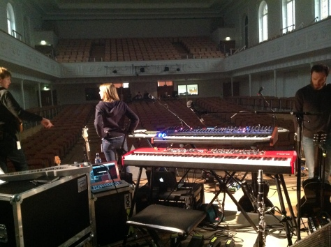My stage setup (Nord Stage, DSI PolyEvolver, MacBook running Mainstage) Glasgow City Hall, January 2014